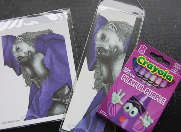 Crayola Playful Purple box of crayons and purple girl 2 bookmark and notecard