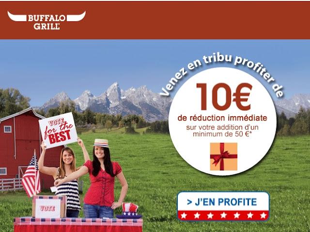 Buffalo Grill: 10 euros de réduction immédiate sur votre addition