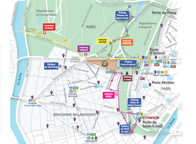 Access outside of the courts in tennis french open - Parking porte de saint cloud ...