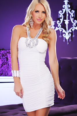 WHITE SEQUIN DECOR HOOK STRAP RUCHED SEXY MINI DRESS