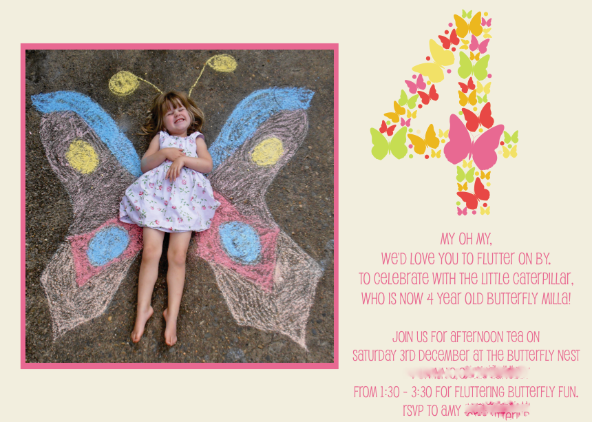 Giggleberry Creations Butterfly Party Invitation Part 2 – Butterfly Party Invitation