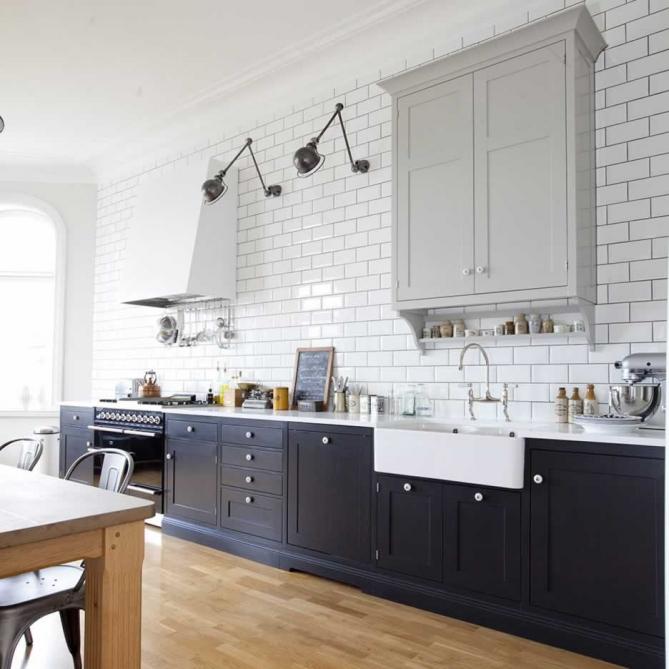 Black Kitchen Cabinets White Subway Tile: Vintage Chic: Vakre Kjøkken I Svart Og Hvitt/ Beautiful