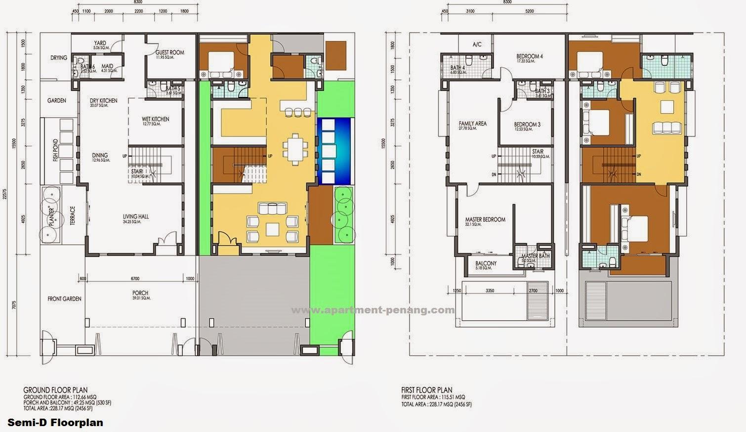 Taman villa indah apartment for Double storey semi detached house floor plan