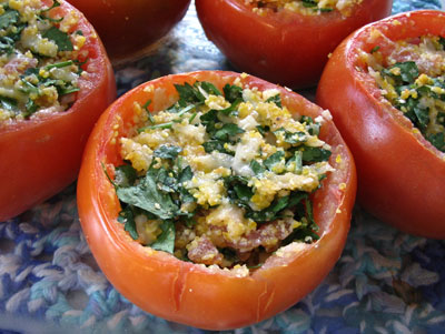 Cheddar and Parmesan Stuffed Tomatoes