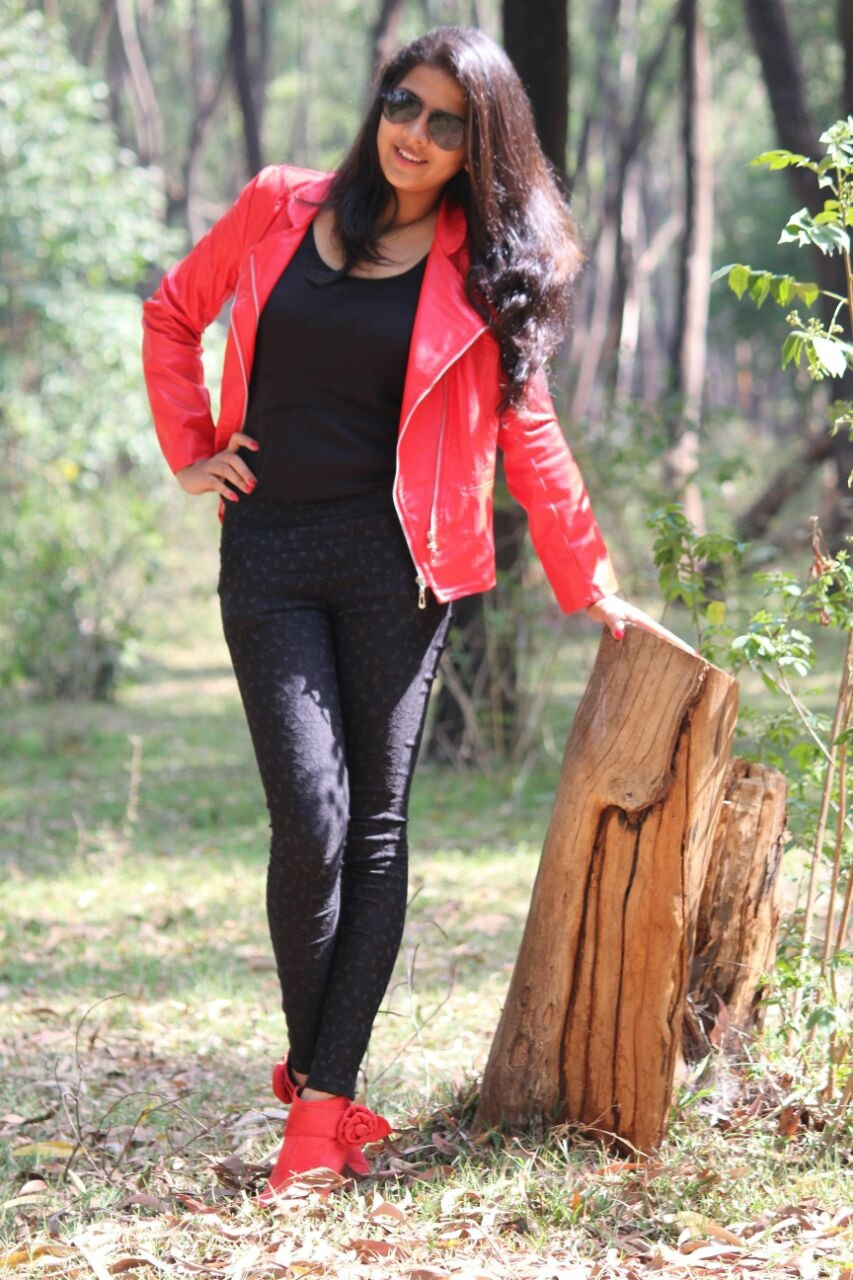 red leather jacket, ankle length booties, red boots, Indian fashion blogger, rock chic look, beautiful Indian girl, fall fashion, namrata metgud