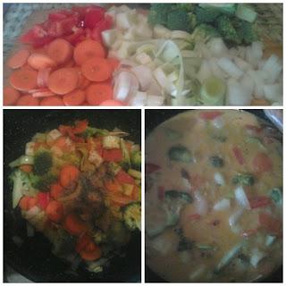 Preparación curry de verduras