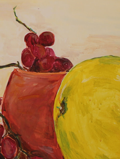 Still-life, pottery, grapes, fruit, pumello, red, earthenware, green, yellow, hand-built, ceramic, art, painting, sarah, myers, acrylic, arte, pintura, natura, morte, large, canvas, food, modern, brushstrokes, chartreuse, grapefruit, quiet, detail, close-up, stems, rind, pot, terracotta