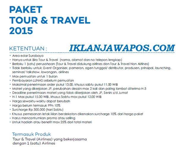 Pasang Iklan Jawa Pos Display Paket Tour And Travel 2015