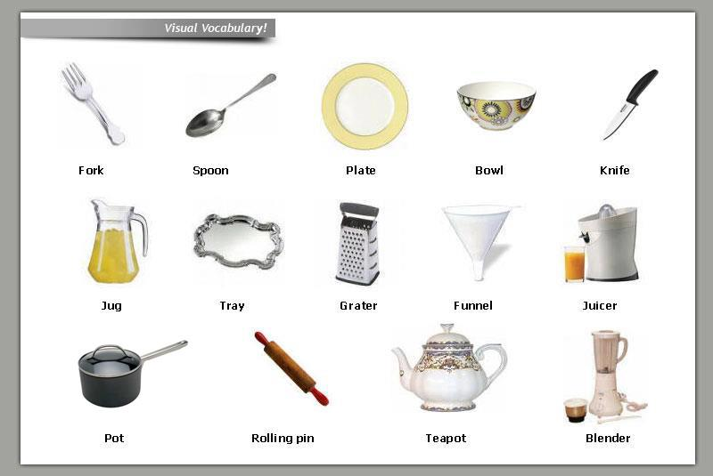 English department seseri visual vocabulary kitchen utensils for Kitchen equipment names