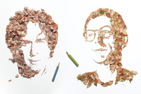 Potret yang dibuat dari hirisan buangan pensil