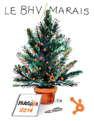 Sapin de Noël au BHV/Marais avec un carnet HubSpot par Yukié Matsushita