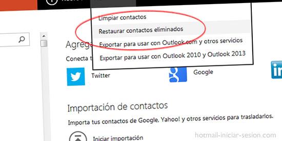 restaurar contactos hotmail iniciar sesión