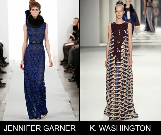 Jennifer Garner in Oscar de la Renta and Kerry Washington in Carolina Herrera Oscar 2014 red carpet predictions