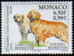 2000年モナコ公国 ラブラドール・レトリーバーとゴールデン・レトリーバーの切手