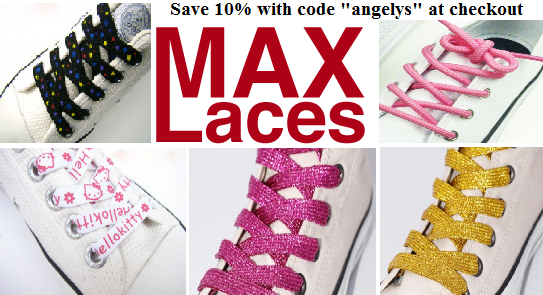 "Update your shoes with MaxLaces, save 10% with code ""angelys""."