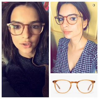 Emily Ratajkowski in Garrett Leight Kinney Plastic Acetate Glasses in Blond Tortoise