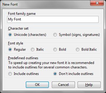 Создание нового шрифта в редакторе FontCreator