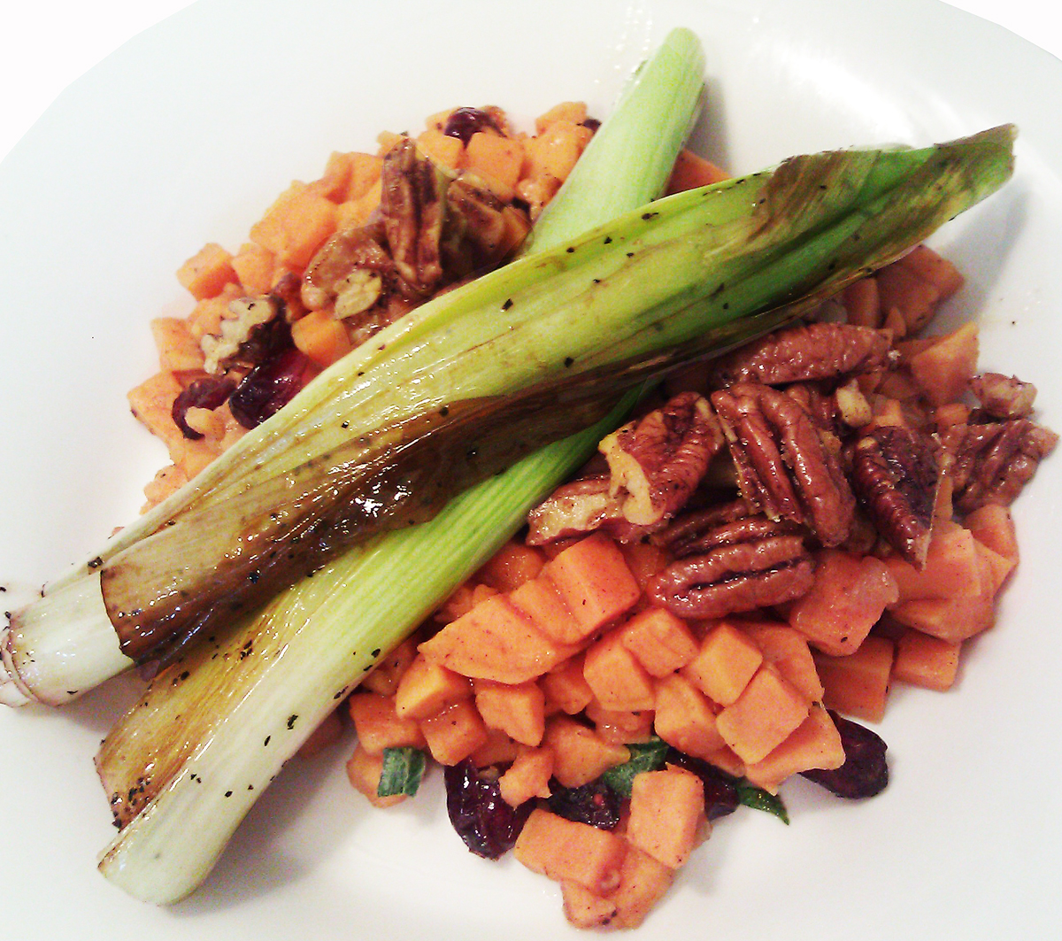 ... -Style Sweet Potato, Spicy Pecans, Cranberries and Braised Leeks