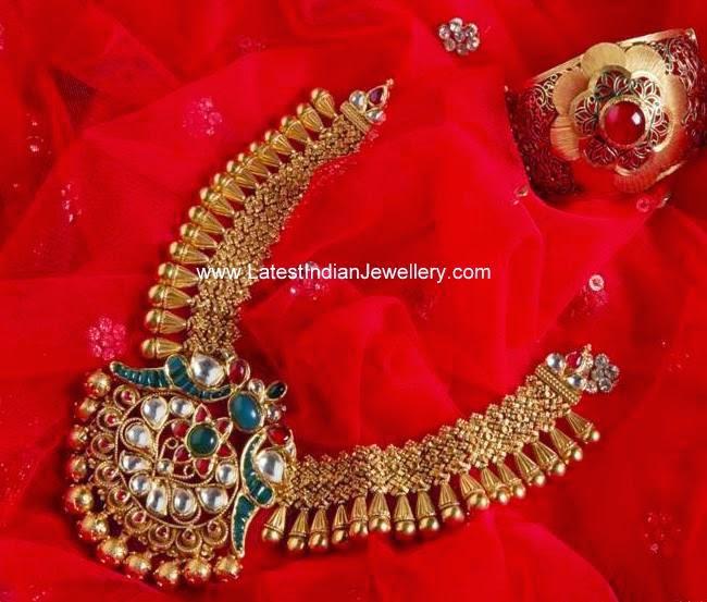 peacock design antique gold necklace