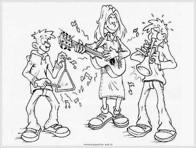 mewarnai gambar grup band musik
