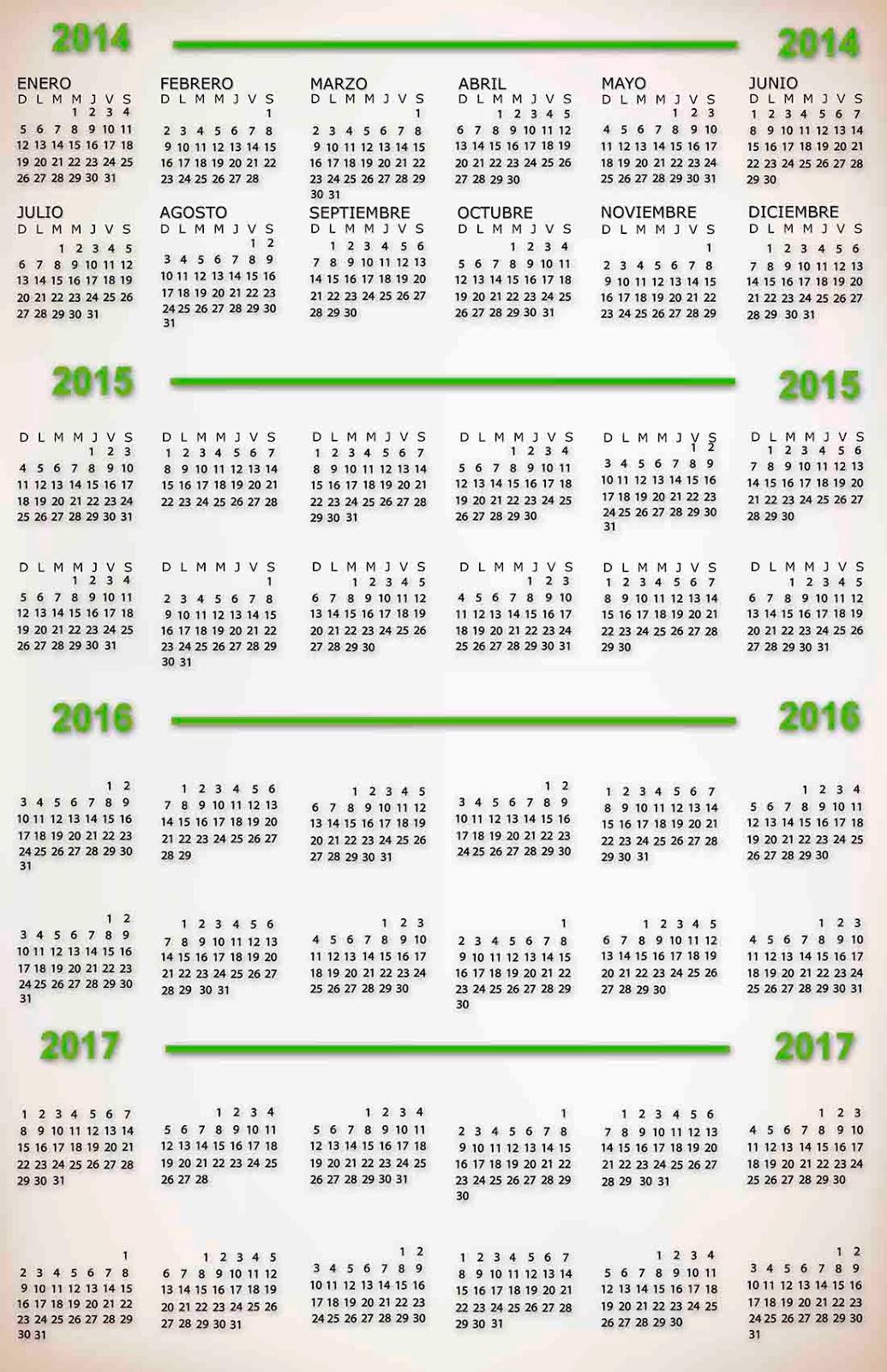 2014 2015 2016 2017 Calendar