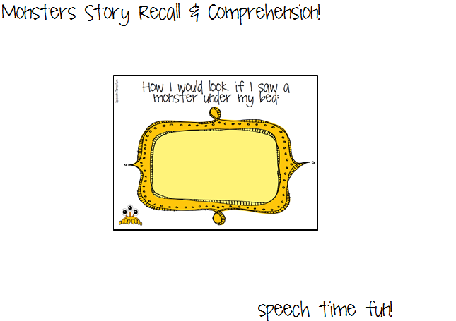 Monsters story recall comprehension worksheet to promote creativity and elicit conversation ccuart Choice Image