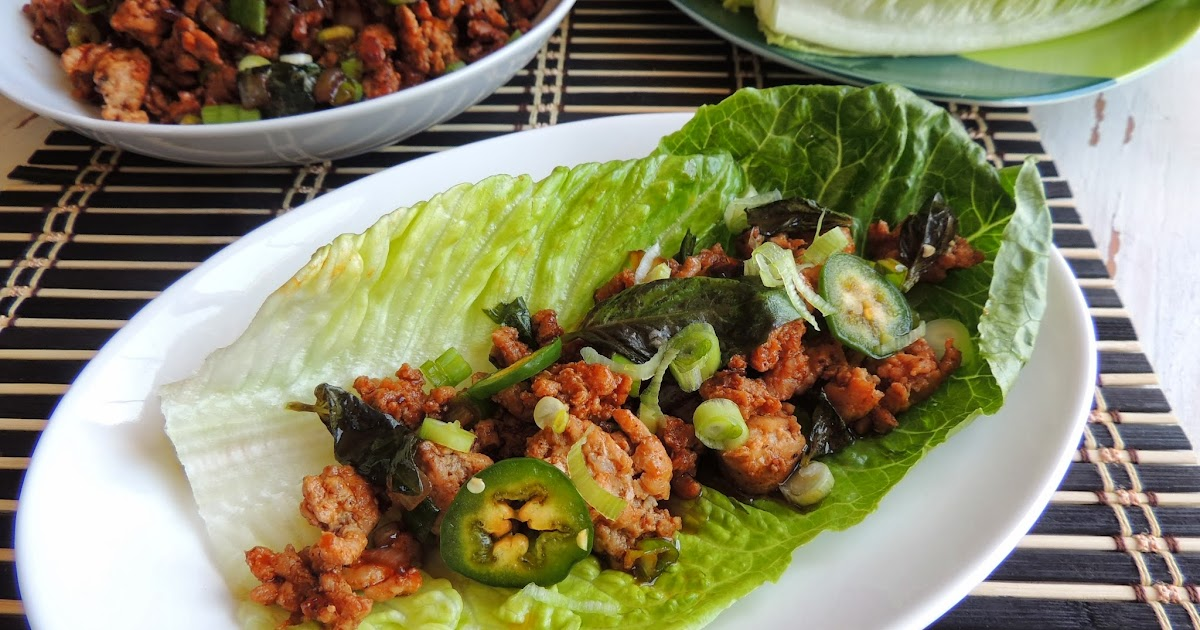 Leave a Happy Plate: Spicy Thai Basil Chicken Lettuce Wraps