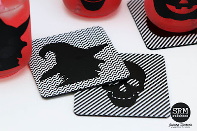 SRM Stickers Blog - Halloween Mason Jars & Coasters #vinyl #patternedvinyl #halloween #masonjars #altered #DIY #digitalcutfiles