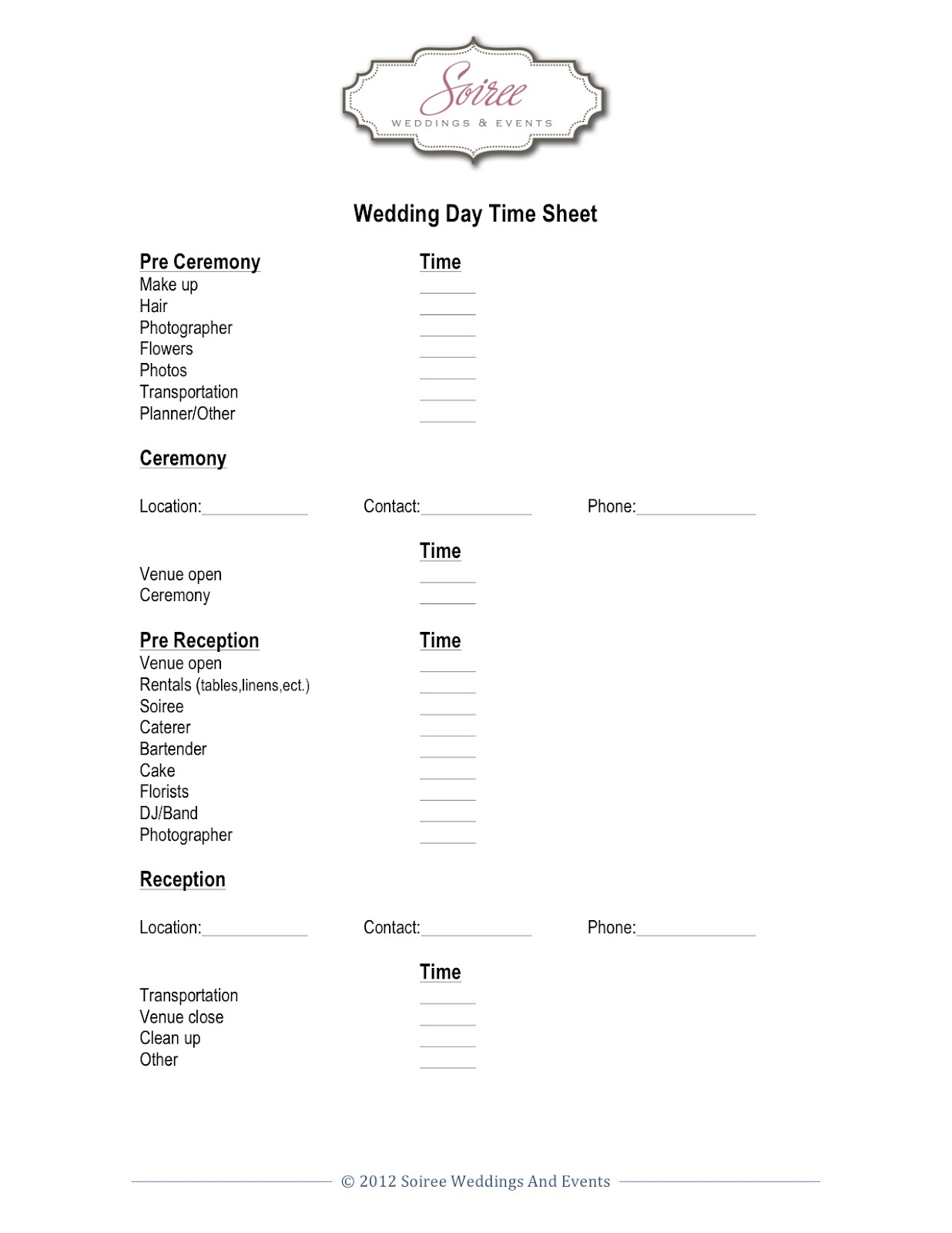 the soiree blog free download wedding day time sheet