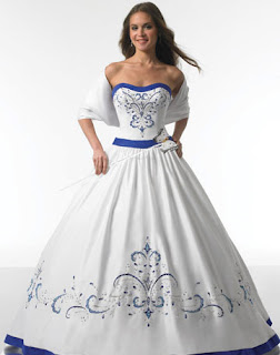 Bridal style and wedding ideas wedding dresses in blue for White wedding dress with blue accents
