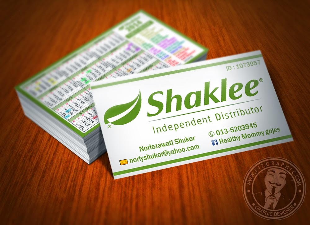 Fizgraphic mini calendar 2014 14 for Shaklee business cards