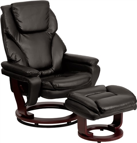 Flash Furniture Black Leather Recliner and Ottoman