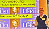 "photo - Carey Hepler presenting ""QFD and Politics"""