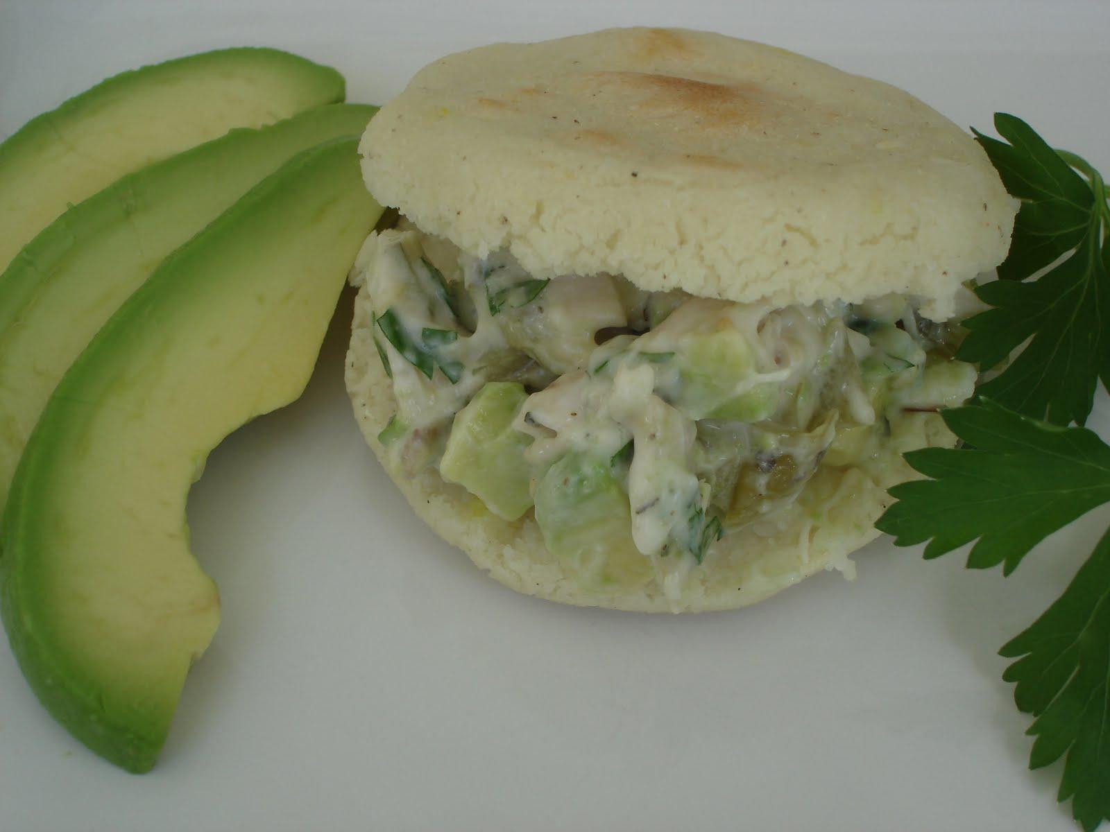 The Tiny Skillet: Arepa Reina Pepiada ~ Arepa Sandwich with Chicken ...