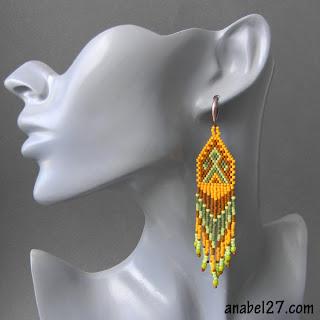 этно-серьги из делики - длинные сережки из бисера