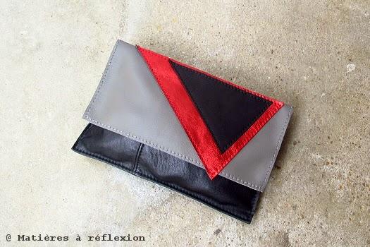 Mini-Pochette du soir rouge et noir Matières à réflexion