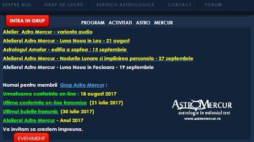 Programul activitatilor Astro Mercur