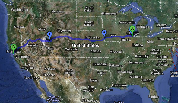 Map of Journey to CA