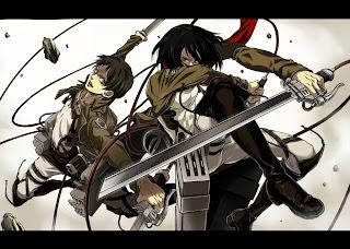 Attack on Titan Shingeki no Kyojin Mikasa Ackerman Eren Jaeger Anime Sword Blade HD Wallpaper Desktop PC Background