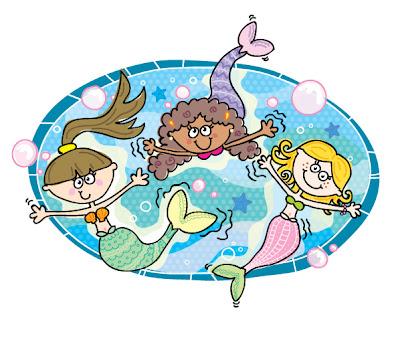 Three mermaids in the ocean.