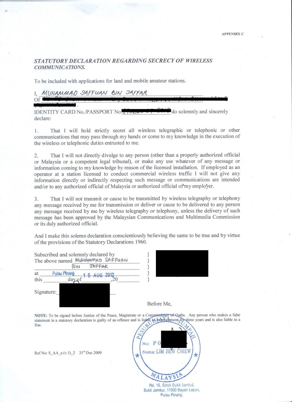 Borang yang memerlukan tandatangan dan cop Pesuruhjaya Sumpah