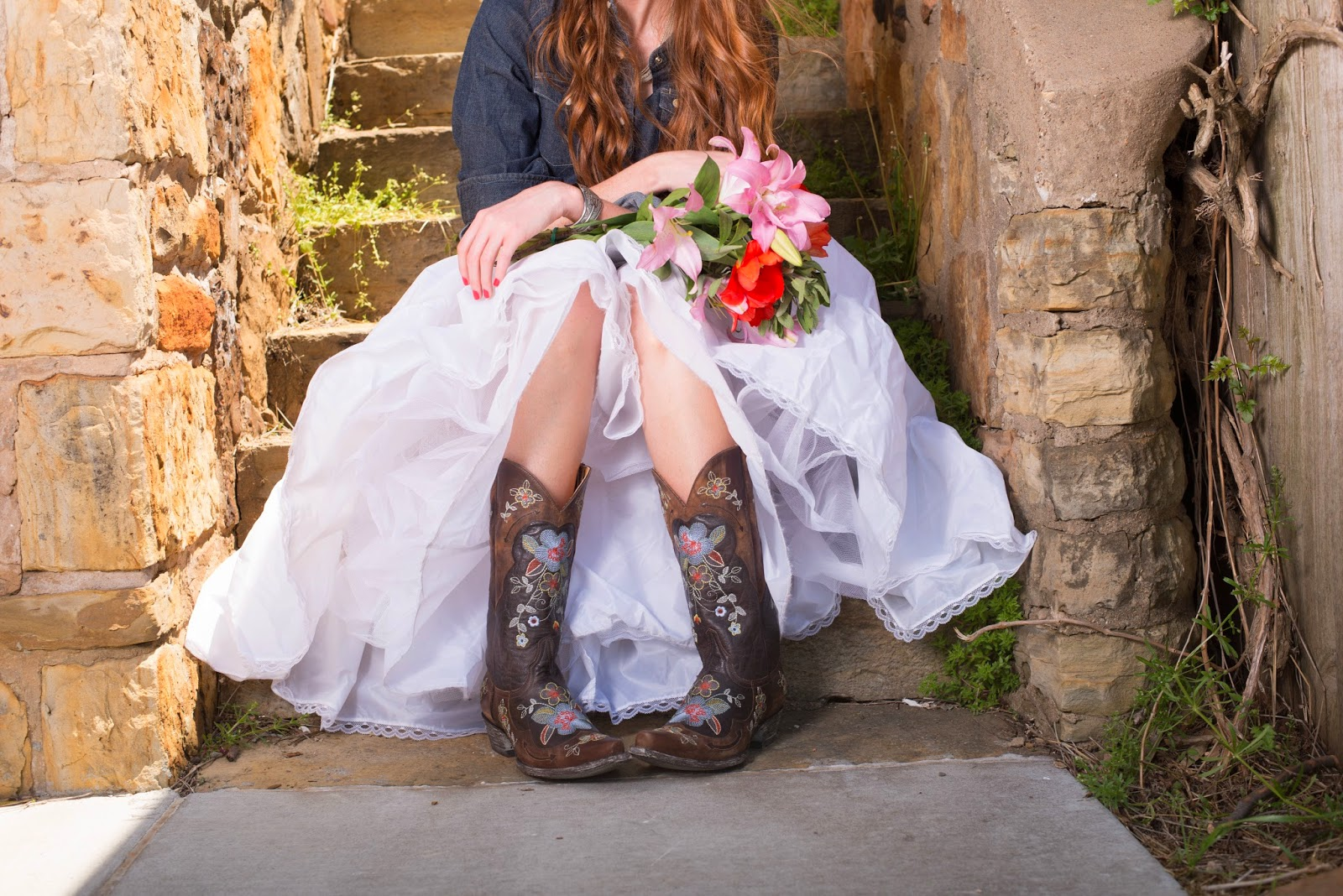 Fashion lessons from my childhood wearing boots with for Simple southern wedding dresses