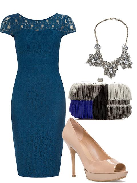look de boda vestido efecto lapiz azul