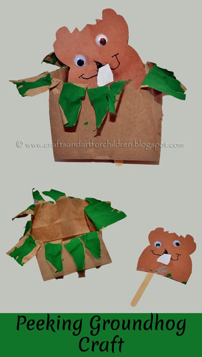 Peeking Groundhog Craft, Paper Bag Craft, Preschool Groundhog
