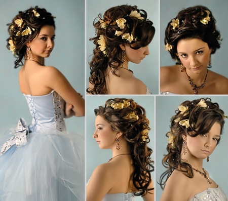 ... hair style left right front and back side with flower cute long hair