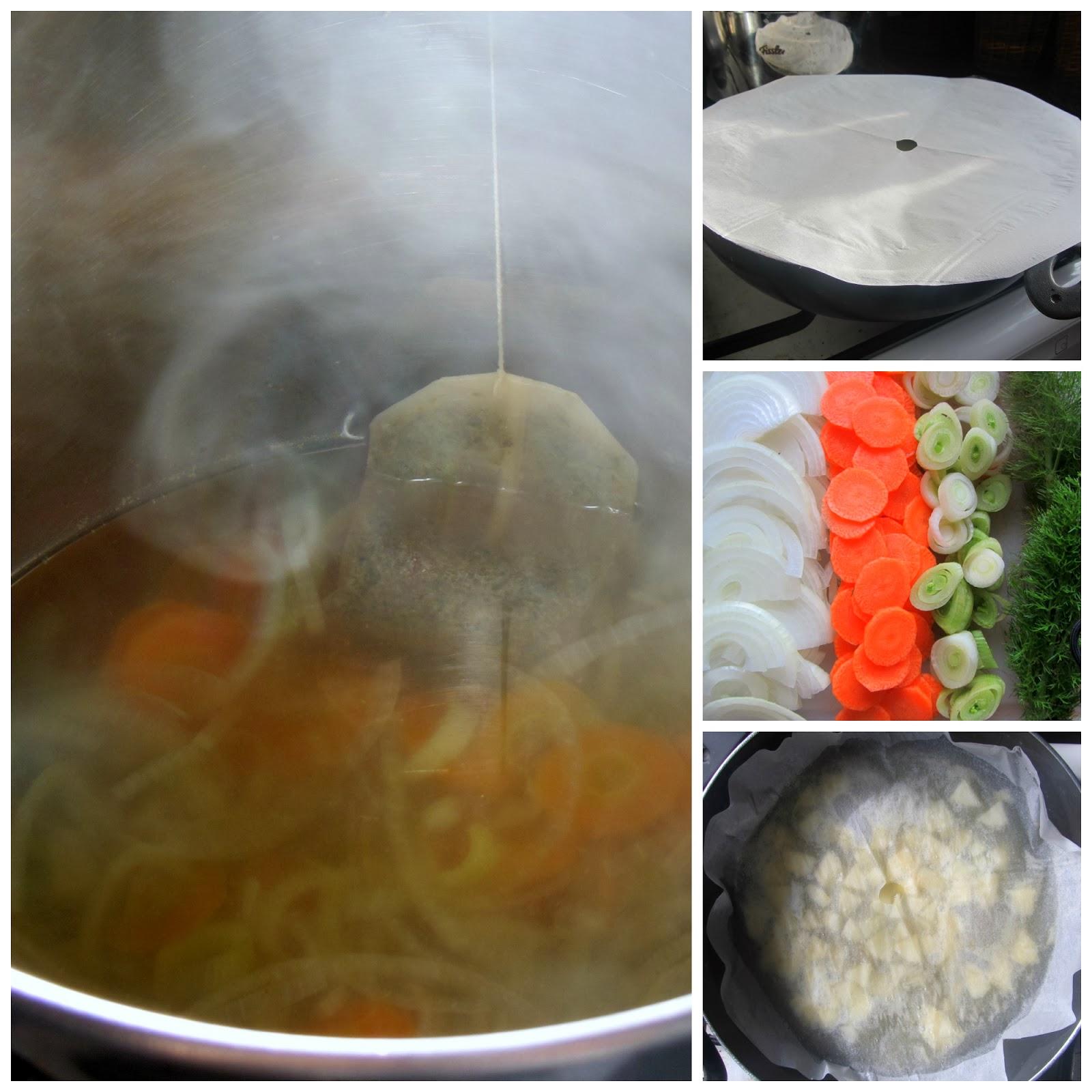 Pulire tutte le verdure cipolla carota sedano poco finocchio ed una pera Tagliare delle stesse dimensioni mettere in pentola e cuocere per qualche