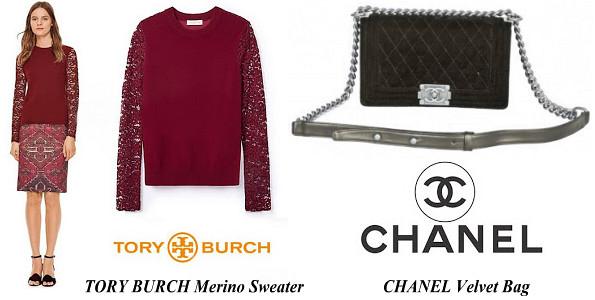 Princess Madeleine's TORY BURCH Merino Sweater And CHANEL Velvet Bag