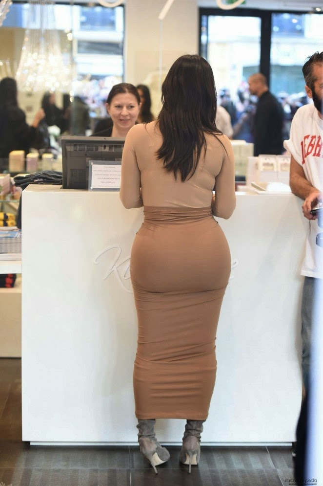 Kim Kardashian shows off curves in a nude bodysuit in Paris