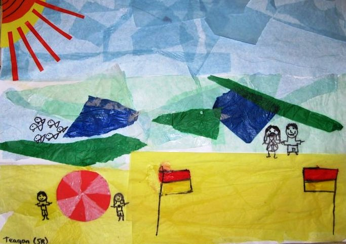 The Primary School Art Room: Tissue Paper Collage Beach Scenes