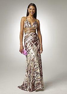 vestido longo em cetim estampado - modelos e fotos